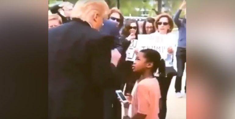 Niña insulta a imitador de Donald Trump y es viral