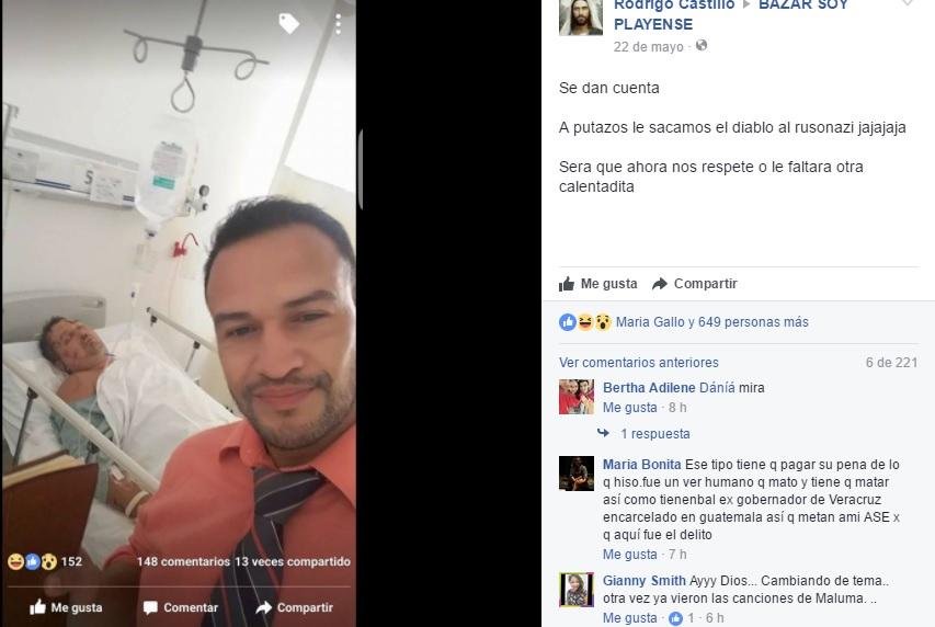 Presunto empleado de la Fiscalía se burla del ruso de Cancún en su lecho de convaleciente en el Hospital General