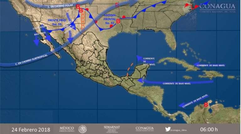 Frente frío 33 avanzará en el norte y el noreste del país